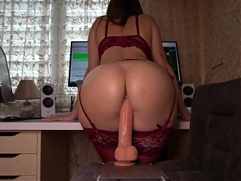 Perfect body and ass with creamy pussy ride dildo.