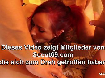 Bukkake after Rough Amateur Gangbang for German Teen Anni