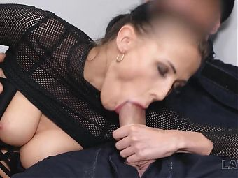 LAW4k. Woman with small ass does it with security officer