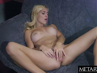 Voluptuous beauty spreads and strokes her shaved hot pussy