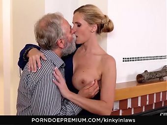 KINKY INLAWS - Old guy fucks MILF and stepdaughter